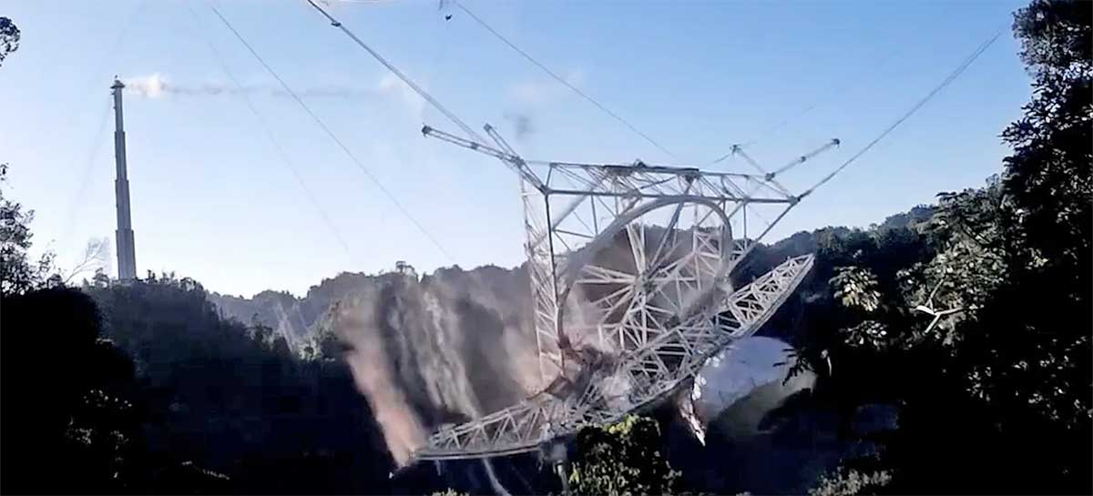 [Vídeo] Veja o colapso do segundo maior Radiotelescópio do mundo