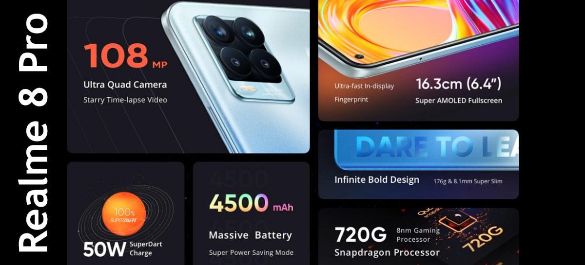 Realme 8 Pro com câmera de 108MP, 8GB+128GB e Snapdragon 720G à venda por US$249,99