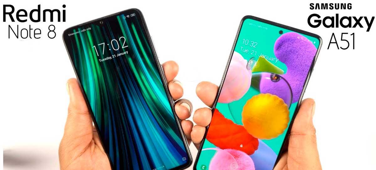 Galaxy A51 e Redmi Note 8 lideram a lista do smartphones mais buscados no Brasil