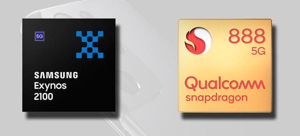 Snapdragon 888 é melhor que Exynos 2100 em desempenho, indica benchmark