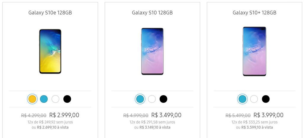 Promoção: Galaxy S10e por R$2.699, Galaxy S10 por R$3.149 e Galaxy S10+ por R$3.599 [JÁ ACABOU]
