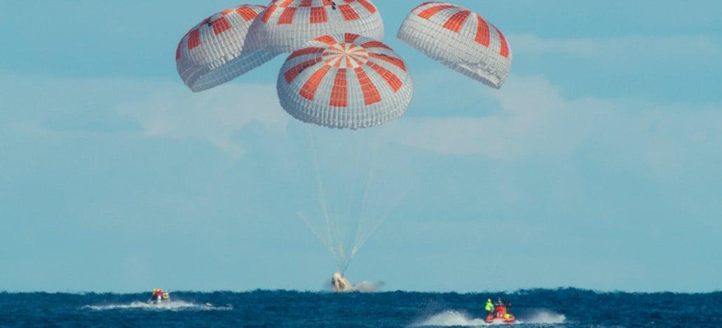 A nave Crew Dragon da SpaceX retorna para a Terra e pousa na costa da Flórida em segurança