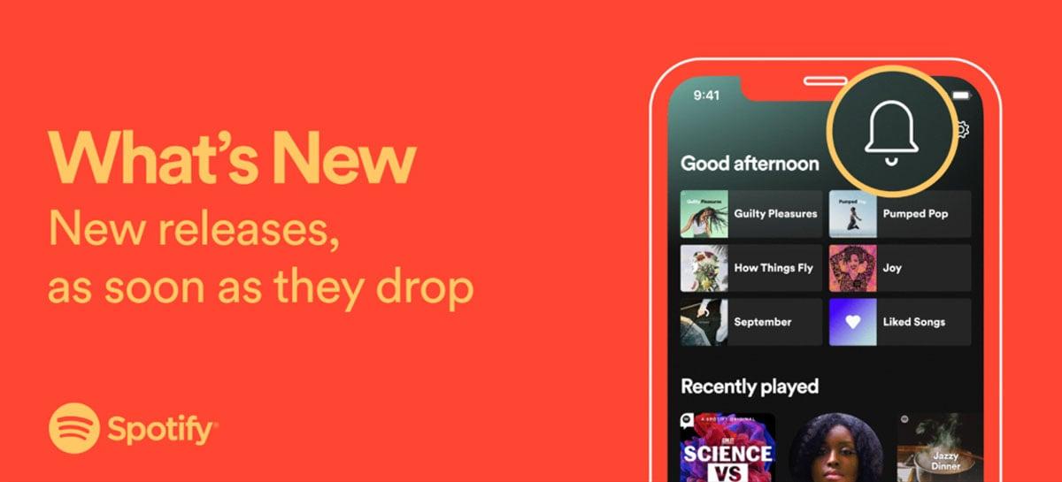 Spotify adiciona novo feed que notifica sobre lançamentos de seus artistas favoritos