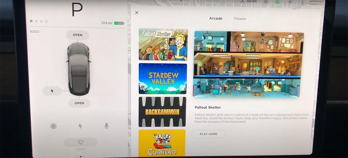 Agora é possível jogar Fallout Shelter no Arcade dos carros da Tesla