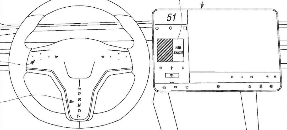 Patente de volante da Tesla mostra troca de marchas no volante