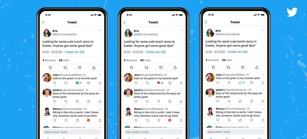 Twitter está testando um novo botão para dar deslike nos tweets