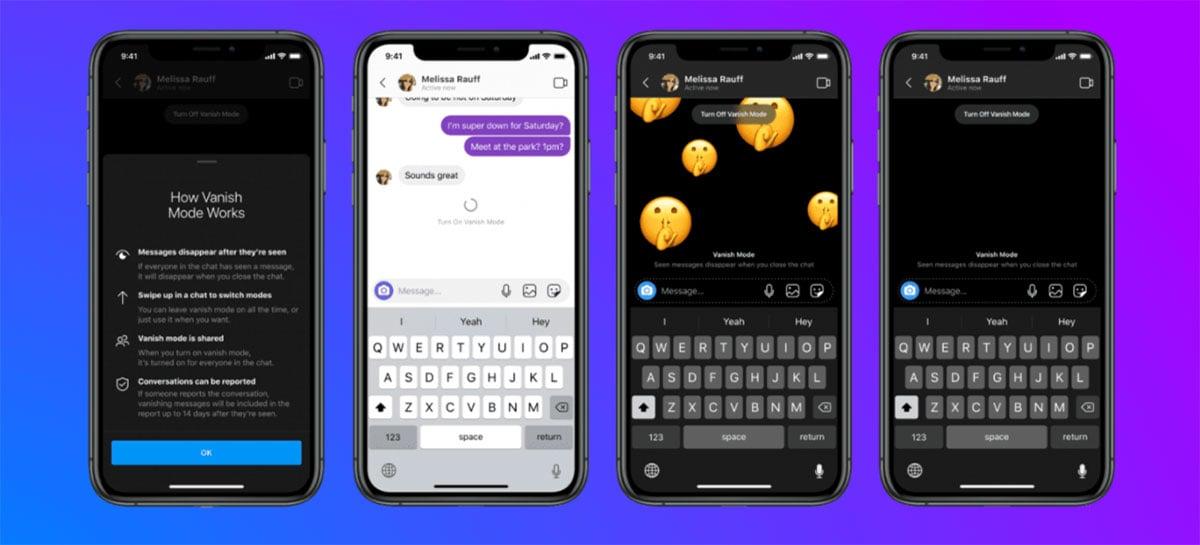 """Messenger e Instagram ganham função """"Vanish Mode"""" para mensagens temporárias"""