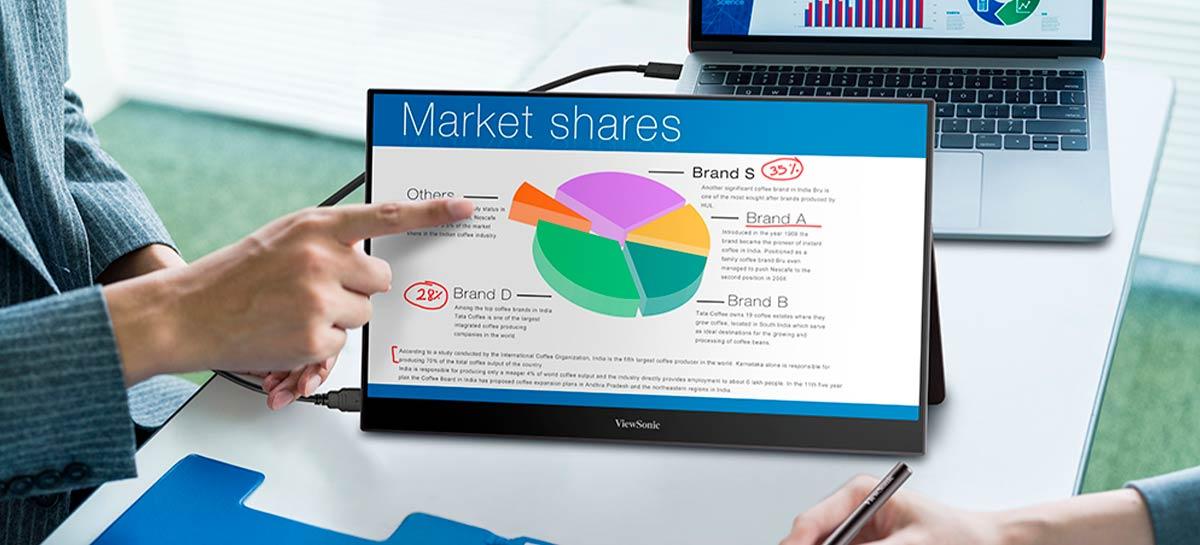ViewSonic lança dois monitores portáteis com foco em produtividade no trabalho