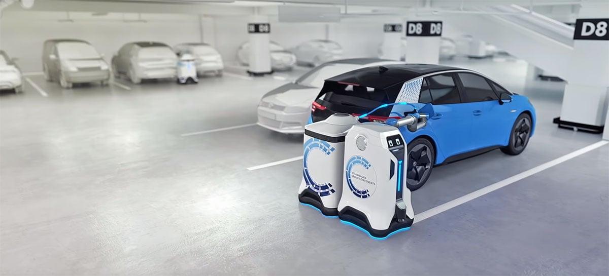 Volkswagen apresenta robô autônomo que recarrega carros elétricos