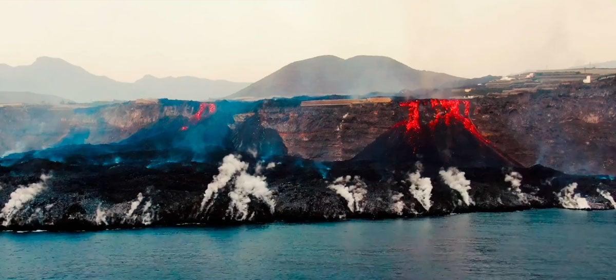 Veja imagens impressionantes da lava do vulcão de La Palma chegando ao mar