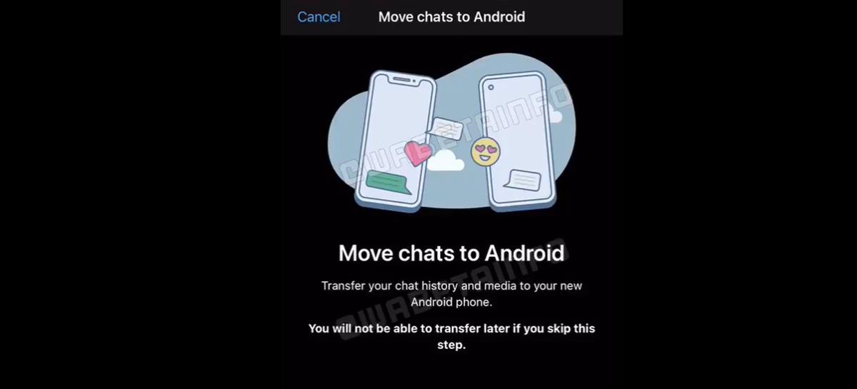 WhatsApp pode pedir cabo para transferir conversas entre Android e iPhone