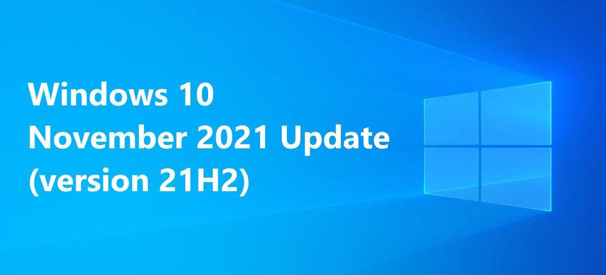 Microsoft confirma que o Windows 10 21H2 será lançado em novembro