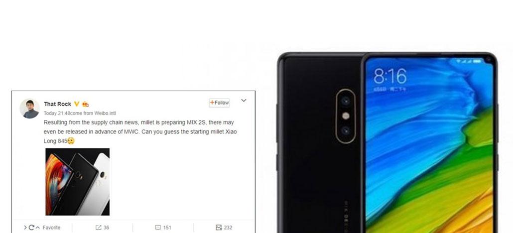 Vaza design do Xiaomi Mi Mix 2S com Snapdragon 845