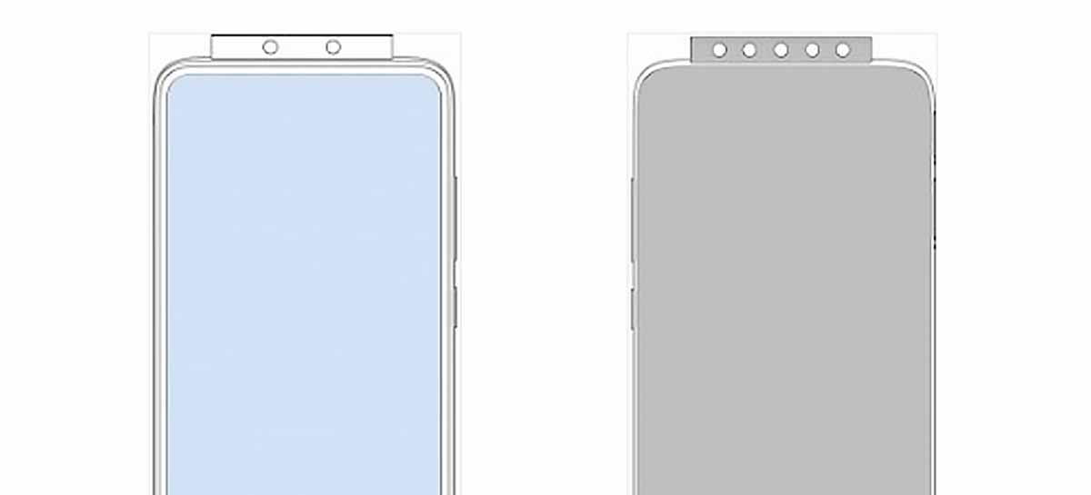 Nova patente de celular da Xiaomi mostra celular com câmera pop-up de até 7 sensores